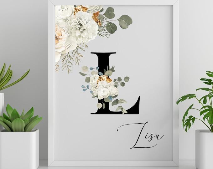 Personalized gifts, Floral monogram letter L wall art decor, Monogram alphabet L digital print