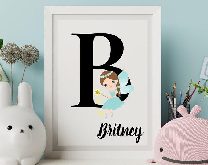 Personalized gifts, Nursery room monogram letter B wall art decor, Teal fairy alphabet B digital print for kids room