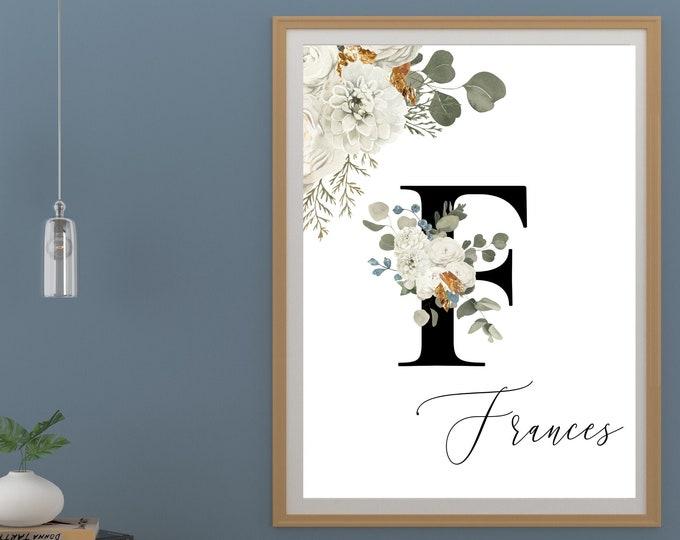 Letter F Wall Art, Wall Art, Instant Download, Letter F Wall Decor, Printable Wall Art, Flower Letter Print, Monogram Wall Art