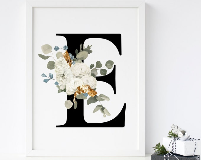 Letter E Wall Art, Initial E Print, Instant Download, Letter E Wall Decor, Printable Wall Art, Monogram Letter, Monogram Digital Print