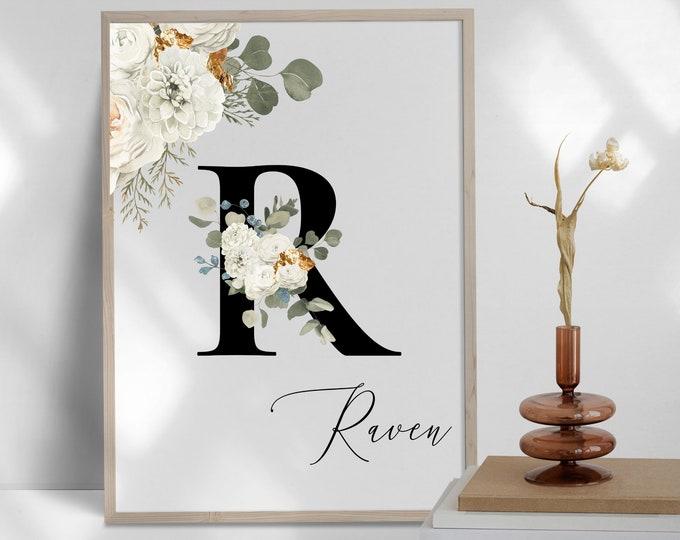 Personalized Floral Name Digital Print, Custom Name Floral Wall Art, Monogram Letter R Printable Wall Art, Monogram Initial Wall Decor