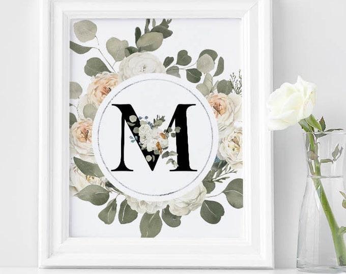 PrintableWallArt, FloralGoldenAlphabetMPrintable, DigitalDownload, WallArt, HomeDecor, BedroomDecor, DigitPrint
