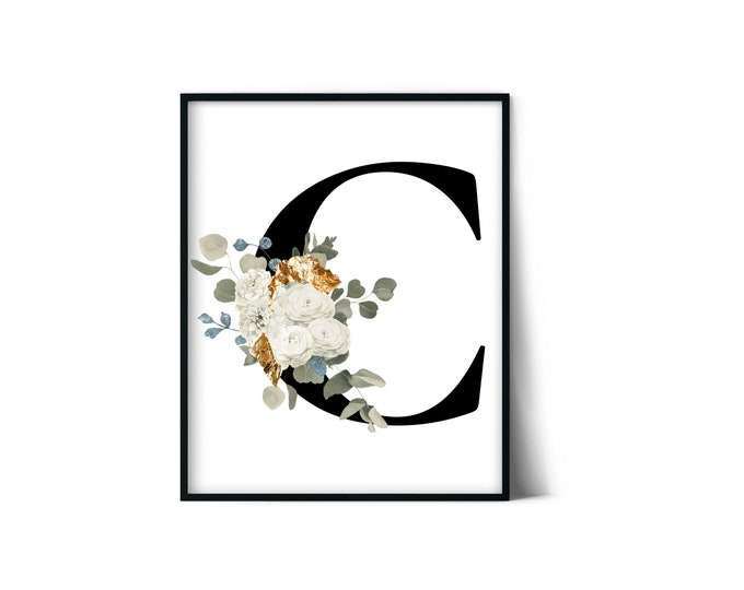 Letter C Wall Art, Initial C Print, Instant Download, Letter C Wall Decor, Printable Wall Art, Monogram Letter, Monogram Digital Print