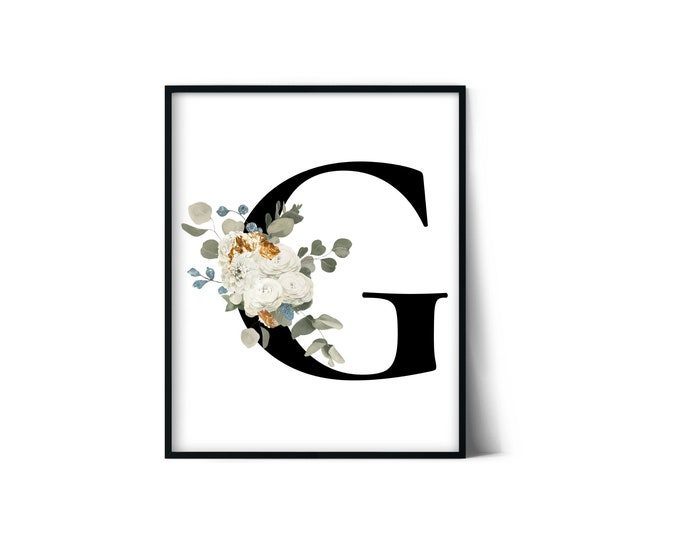 Letter G Wall Art, Initial G Print, Instant Download, Letter G Wall Decor, Printable Wall Art, Monogram Letter, Monogram Digital Print