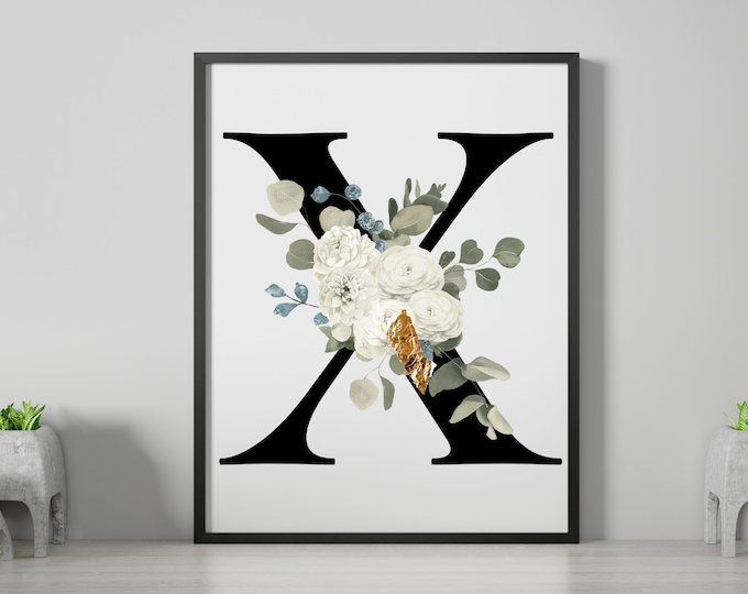 Letter X Wall Art, Wall Art, Letter Wall Decor, Printable Wall Digital Print, Monogram Initial X, Home Decor