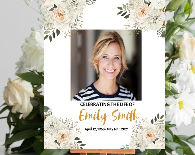 Editable Funeral Welcome Sign, Celebration of Life Sign, Memorial Sign, Funeral Sign Floral, Corjl Template, Heavenly Prints
