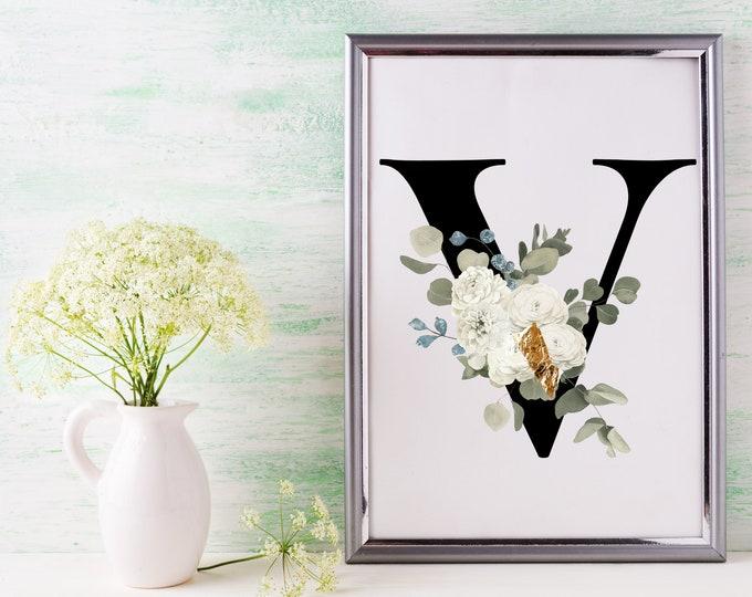 Letter V Wall Art, Wall Art, Letter Wall Decor, Printable Wall Art, Digital Print, Monogram Initial V, Home Decor