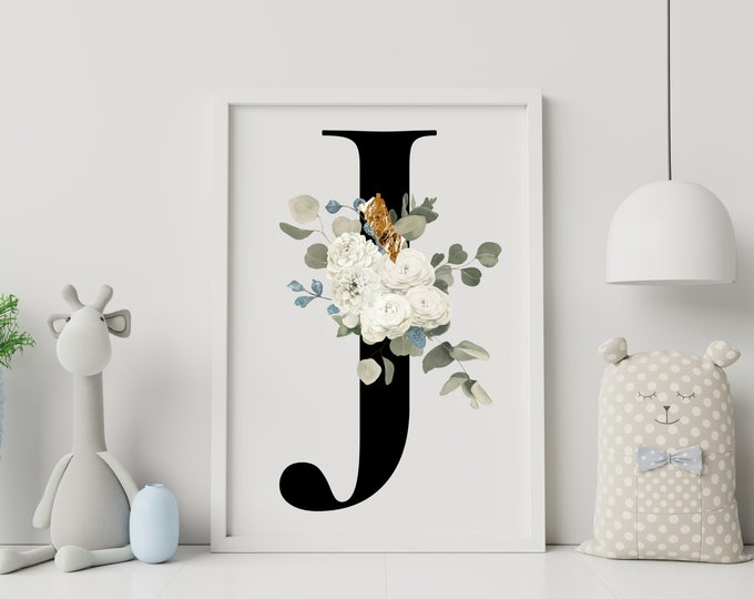 Letter J Wall Art, Initial J Print, Flower Letter Print, Letter J Wall Decor, Letter Wall Art, Monogram Wall Art, Digital Prints