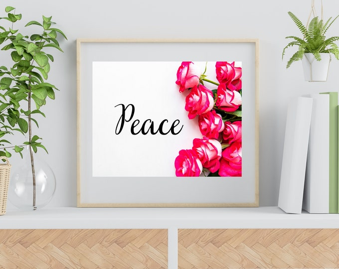 Bible Verse PEACE Roses Wall Art, Bible Verse Printable, Bible Verse Psalms, Bible Verse Quotes, Bible Verse Home Decor