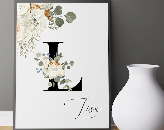 Personalized Name Monogram Letter L Digital Print, Custom Name Floral Wall Art, Personalized Name Print, Monogram Initial Wall Art