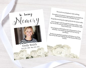 Editable Funeral Prayer Card template, Personalized celebration of life prayer card digital print instant download