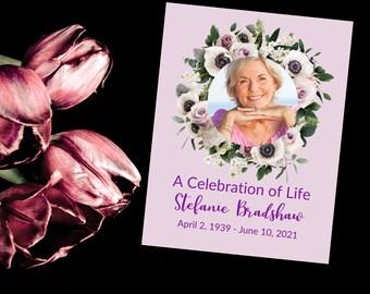 2 Page Editable Funeral Floral Program Template, Celebration of Life, Order of Service Program