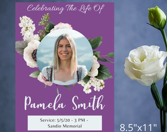 2 Page Editable Funeral Purple Floral Program Template, Celebration of Life, Order of Service Program