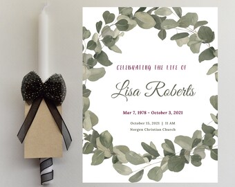2 Page Editable Olive Green Wreath Memorial Service Template, Celebration of Life, Memorial Service Program