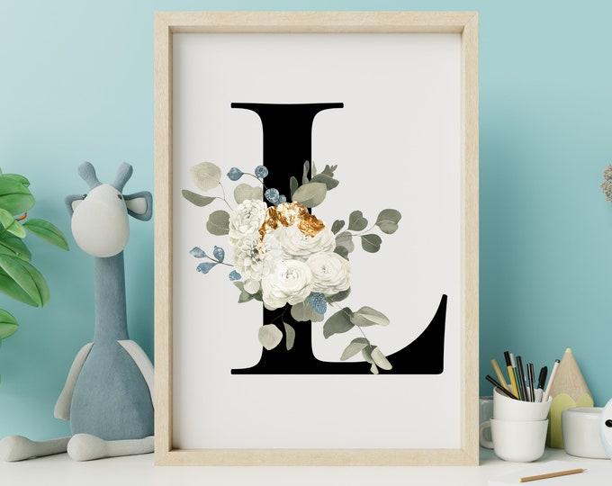 Letter L home decor wall art, Letter L wall decor, Printable wall art, Instant download, Flower letter print, Floral monogram digital print