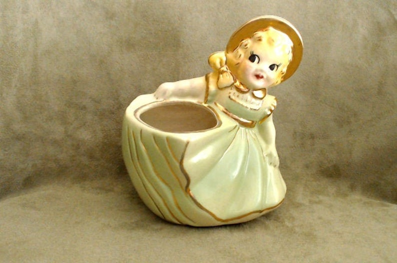 American Bisque Shafer Made in USA Spring Green with Gold Gilt Mid Century Ceramic Vase Vintage Girl in Ruffled Dress Planter