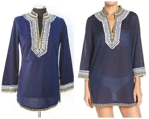 Blue cotton Summer Tunic , Tory Burch , Embroidere