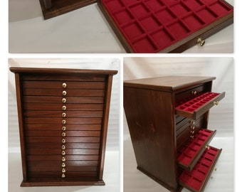 Monetiere Medagliere 15 Cassetti in vero legno e Velluto Italiano di diversi colori