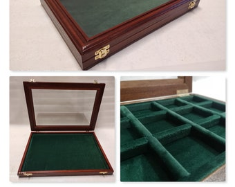 Box for Coins box in solid wood and glass Coins&More velvet color choice
