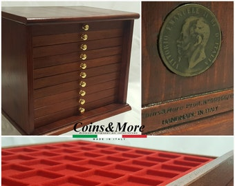 Coin cabinet in real wood color Mahogany 10 Drawers