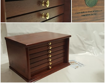 Coin cabinet Coin cabinet in real wood color Walnut 7 Drawers