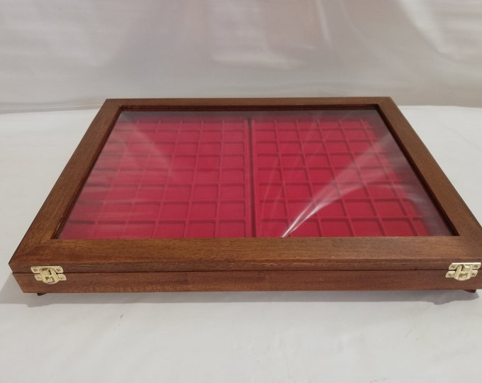 Real wood display cabinet with unbreakable plexiglass cover and interior with two trays for coins, medals or others