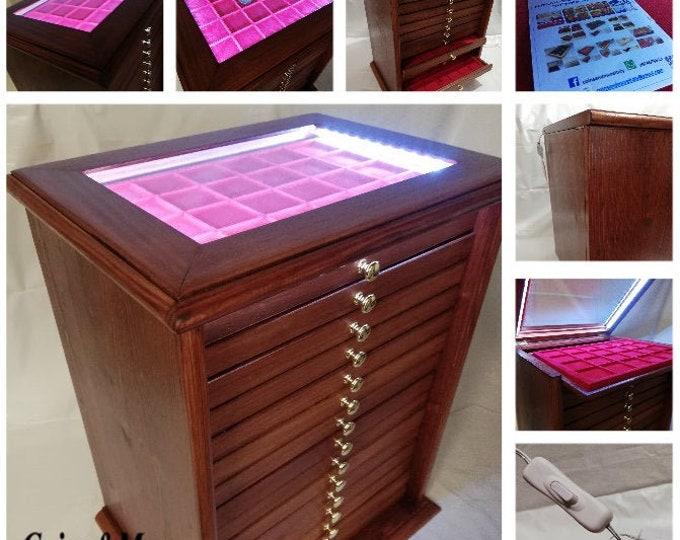 Monetiere in legno LED ® colore Mogano 15+1 Cassetti in floccato a scelta mobile in legno per monete coin cabinet