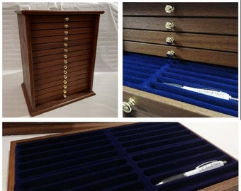Storage unit for 300 collection pens penholder from exhibitor desk