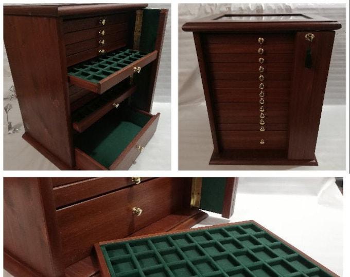 Monetiere Medagliere 13 Cassetti in vero legno e Velluto Italiano di diversi colori