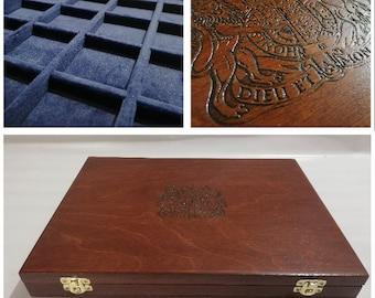 Cofanetto per monete astuccio in solido legno e velluto blu The Queen's Beasts  Furio Troiano Monetieri e accessori per collezionisti