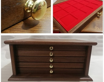 Coin cabinet Coin cabinet in real wood color Walnut 5 Drawers