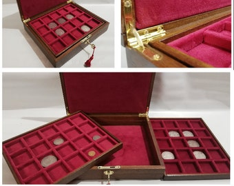 Cofanetto per monete in legno e velluto Rosso Cardinale , medaglie scatola per monete 40 posti 40x40 mm