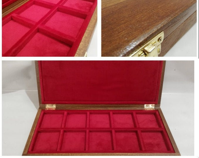 Wooden box for coins inside in red velvet 10 boxes 60x60 mm quadrum handmade By Furio Troiano