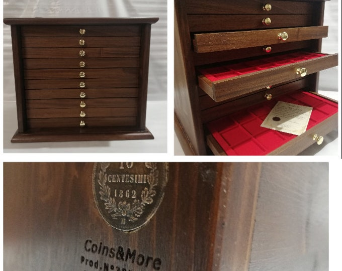Coin cabinet Coin cabinet in real wood color Walnut 10 Drawers