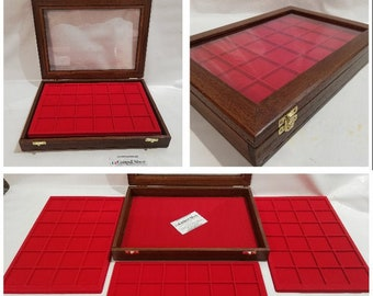 Wooden case for coins or medals, malacology, gems, with two removable trays, customizable