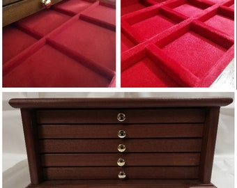 Coin cabinet  5 Drawers in real wood and Italian Red Velvet of first choice red