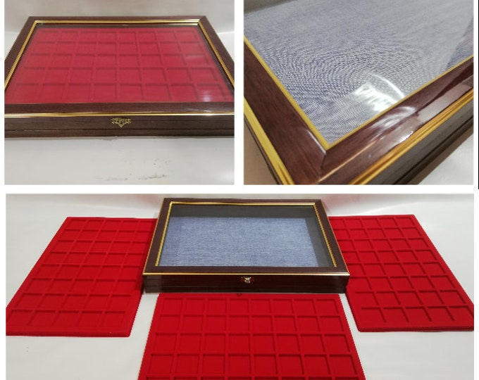 Display case with 3 trays including Wooden display case for coins, medals, malacology, gems, fossils Coins&More exhibitor