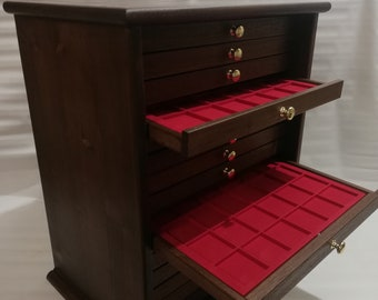 Coin cabinet Coin cabinet in real wood color Walnut 15 Drawers