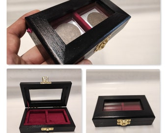 Wooden box case 2 squares 50x50mm in Italian velvet, real wood and glass  color of your choice coin case cabinet