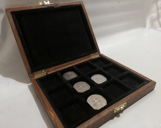 Wooden box for coins medals 12 boxes 40 x 40 mm velvet Italian BLACK handmade Coins&More numismatica monetiere collector