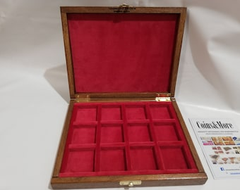 Wooden box case for coins or medals 12 boxes 40 x 40 mm in velvet Italian Red handmade Coins&More numismaticmoneta monetiere