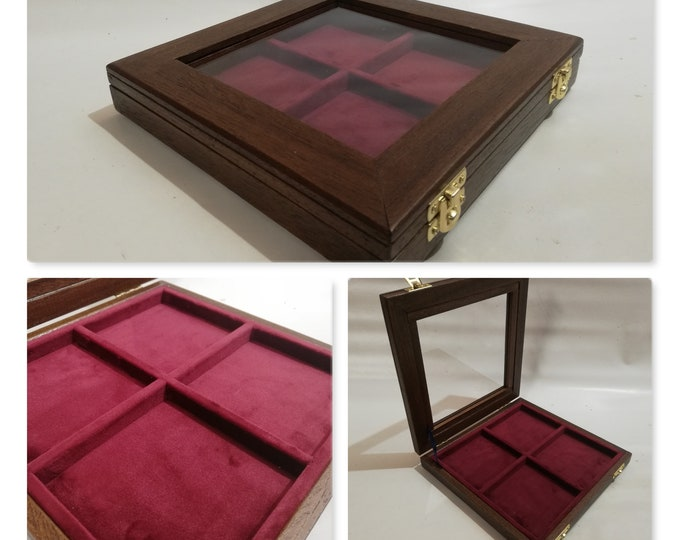 Wooden case for military medals, wooden and velvet plexiglass display case  velvet color of your choice
