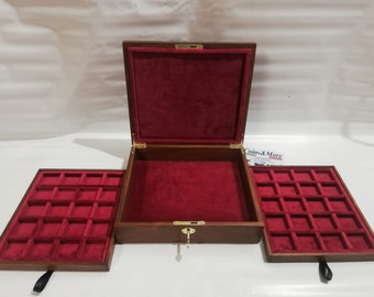 Wooden box for coins medals jewelry 2 trays in Italian velvet and lock - handmade by Coins&More Numismatica