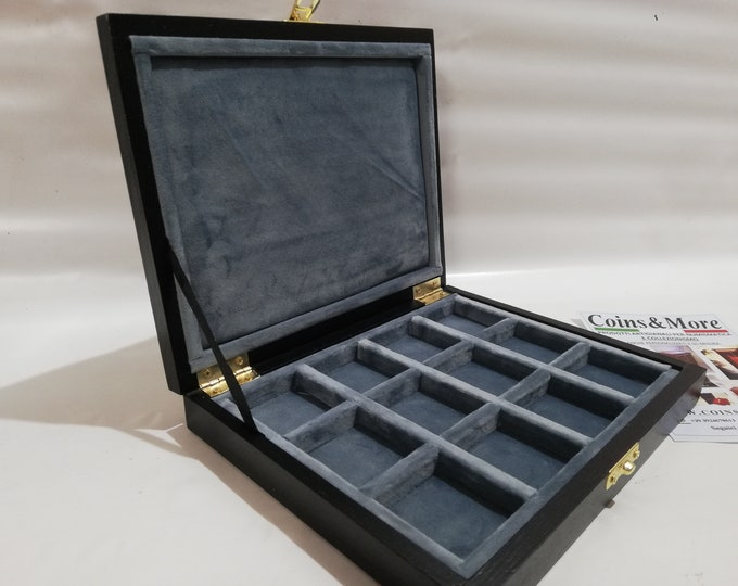 Wooden case box for coins, medals, minerals, fossils, gems, malacology 12 boxes 40x40 mm in Italian velvet BLUE AVION