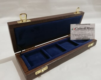 Wooden case box for coins or medals 4 boxes 50 x 50 mm