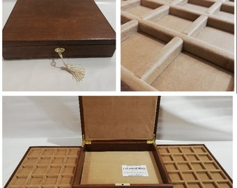 """Wooden casket for coins jewelry medals 2 trays in Italian velvet and lock - handmade by Furio Troiano of """"Coins & More"""""""