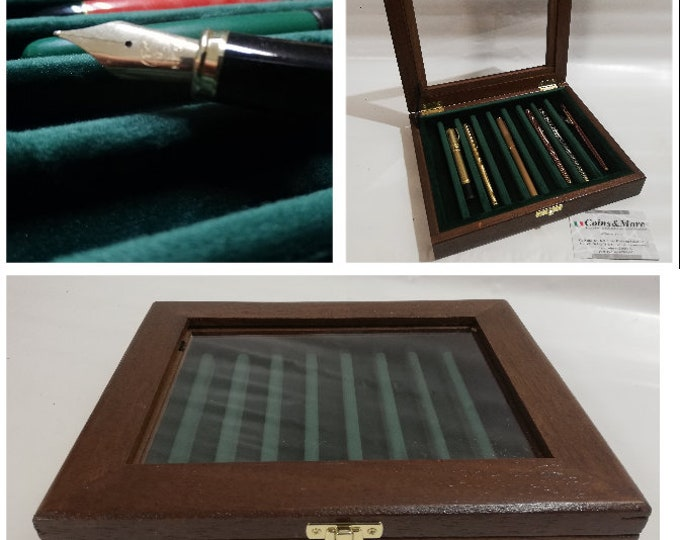 Pen holder box, Wood and velvet case Display for fountain pens, personalized fountain pen showcase pencil display box gold