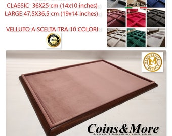 Plateau in wood and velvet tray 2 SIZES and 11 COLORS for jewelry coins medals display CUSTOMIZABLE