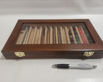 Pen holder box, Wood and velvet case Display for 13 fountain pens, personalized fountain pen showcase