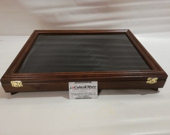 Showcase in real wood for collectors, display for coins, medals or other
